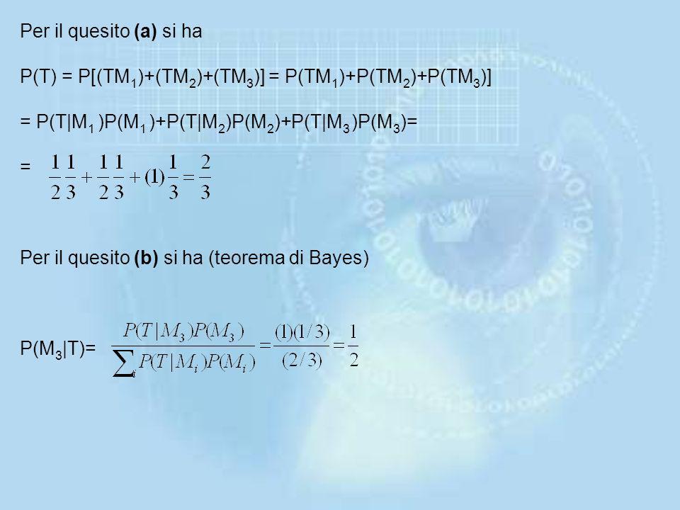 Per il quesito (a) si ha P(T) = P[(TM1)+(TM2)+(TM3)] = P(TM1)+P(TM2)+P(TM3)] = P(T|M1 )P(M1 )+P(T|M2)P(M2)+P(T|M3 )P(M3)= = Per il quesito (b) si ha (teorema di Bayes) P(M3|T)=